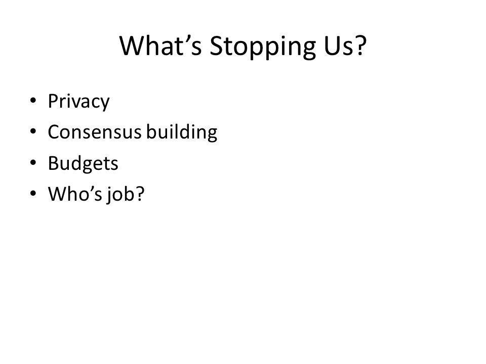 Whats Stopping Us Privacy Consensus building Budgets Whos job