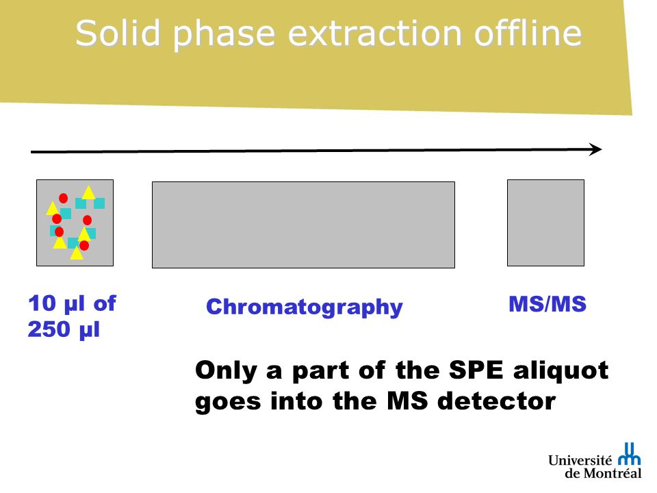 Only a part of the SPE aliquot goes into the MS detector Solid phase extraction offline 10 µl of 250 µl Chromatography MS/MS