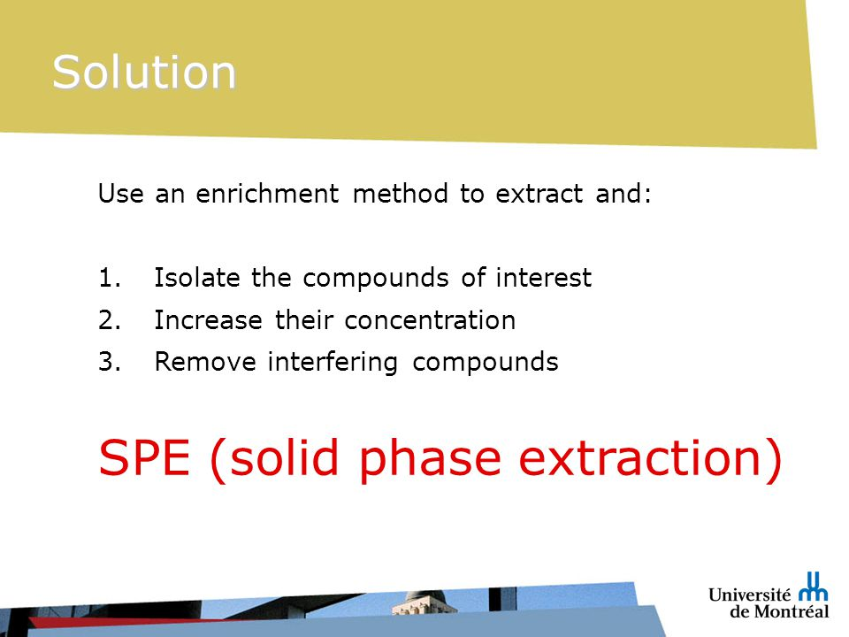 Use an enrichment method to extract and: 1.Isolate the compounds of interest 2.Increase their concentration 3.Remove interfering compounds SPE (solid phase extraction) Solution