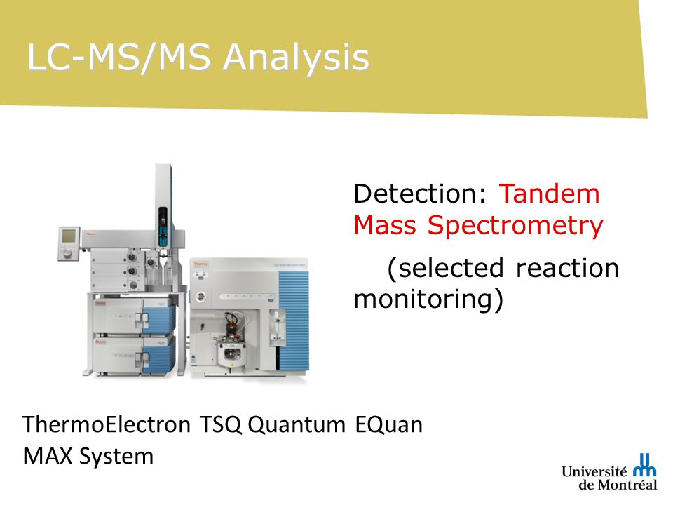 LC-MS/MS Analysis Detection: Tandem Mass Spectrometry (selected reaction monitoring) ThermoElectron TSQ Quantum EQuan MAX System