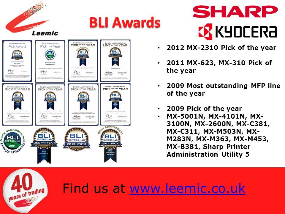 2012 MX-2310 Pick of the year 2011 MX-623, MX-310 Pick of the year 2009 Most outstanding MFP line of the year 2009 Pick of the year MX-5001N, MX-4101N