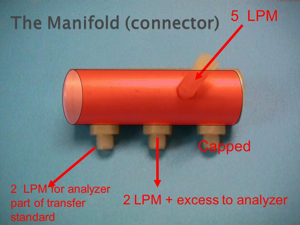5 LPM 2 LPM for analyzer part of transfer standard 2 LPM + excess to analyzer Capped The Manifold (connector)