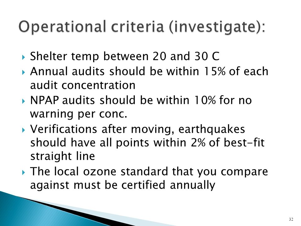 Shelter temp between 20 and 30 C Annual audits should be within 15% of each audit concentration NPAP audits should be within 10% for no warning per conc.
