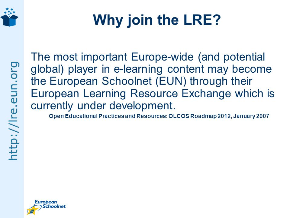http://lre.eun.org Why join the LRE.