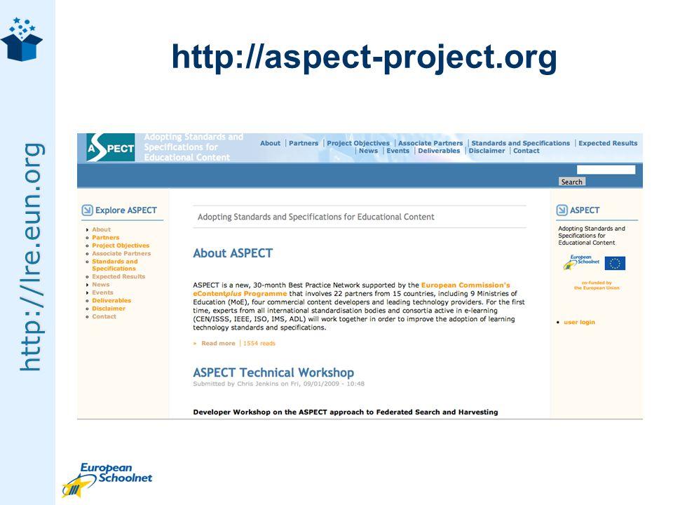 http://lre.eun.org http://aspect-project.org