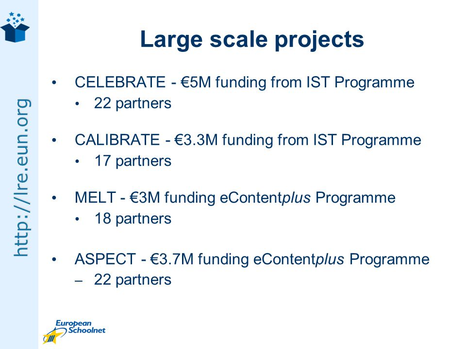 http://lre.eun.org Large scale projects CELEBRATE - 5M funding from IST Programme 22 partners CALIBRATE - 3.3M funding from IST Programme 17 partners MELT - 3M funding eContentplus Programme 18 partners ASPECT - 3.7M funding eContentplus Programme – 22 partners