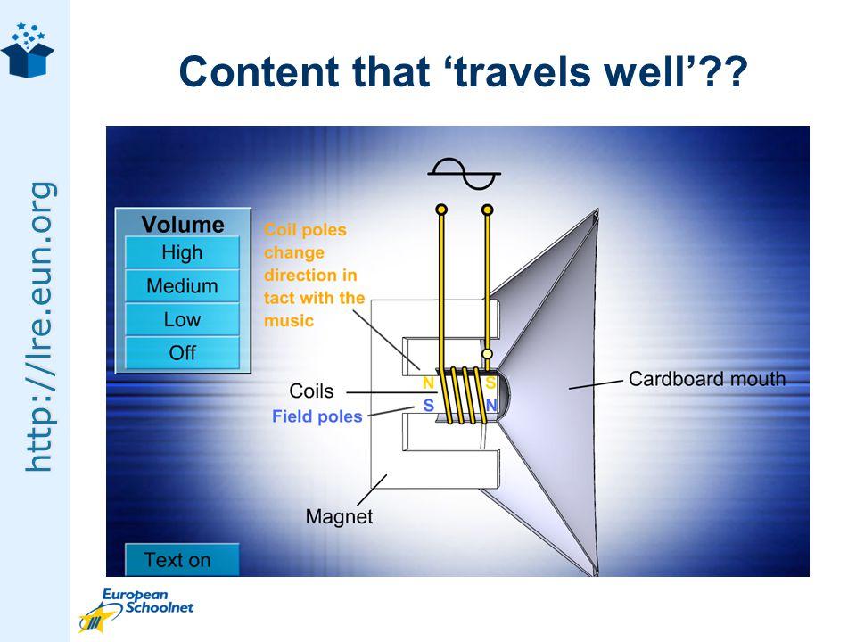 http://lre.eun.org Metadata: IEEE LOM, Dublin Core Vocabulary: XVD, VDEX, ZTHES, SKOS Protocol: SQI, SPI, SRU/SRW, OAI-PMH Query Language: CQL, PLQL, LRE-QL Registry: CORDRA, ADL Registry Content discovery