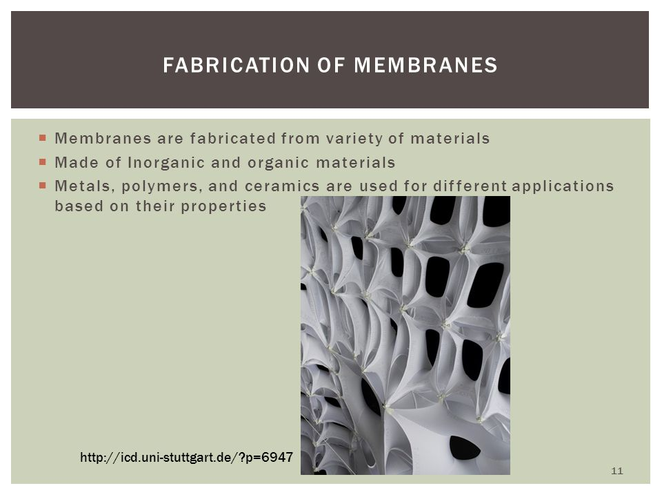 Membranes are fabricated from variety of materials Made of Inorganic and organic materials Metals, polymers, and ceramics are used for different appli
