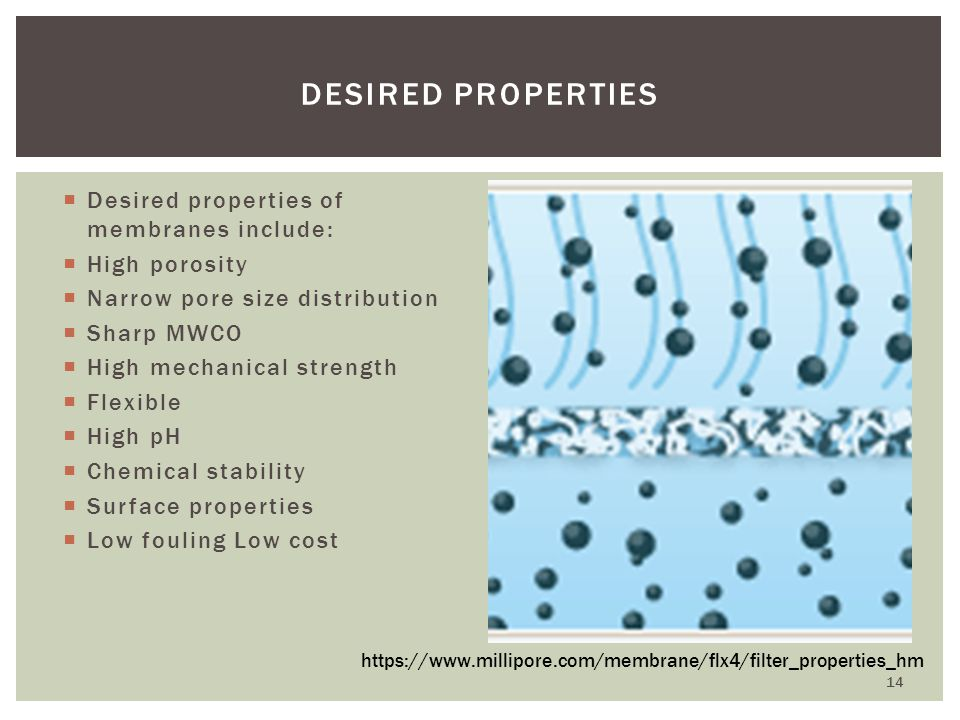 Desired properties of membranes include: High porosity Narrow pore size distribution Sharp MWCO High mechanical strength Flexible High pH Chemical sta