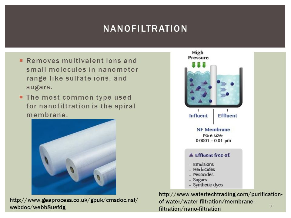 Removes multivalent ions and small molecules in nanometer range like sulfate ions, and sugars. The most common type used for nanofiltration is the spi