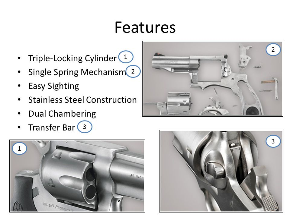 Features Triple-Locking Cylinder Single Spring Mechanism Easy Sighting Stainless Steel Construction Dual Chambering Transfer Bar 1 2 1 2 3 3