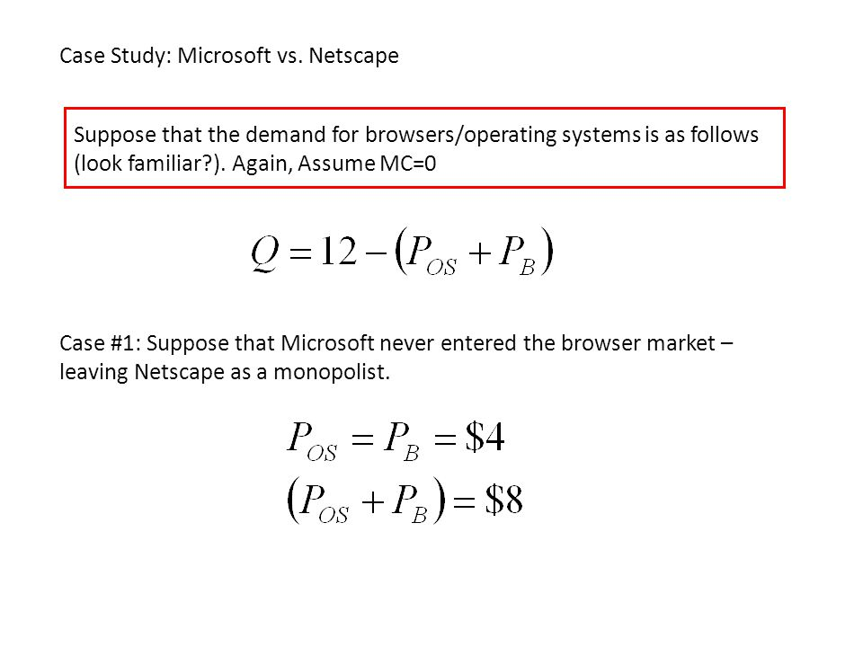 Case Study: Microsoft vs. Netscape Suppose that the demand for browsers/operating systems is as follows (look familiar?). Again, Assume MC=0 Case #1: