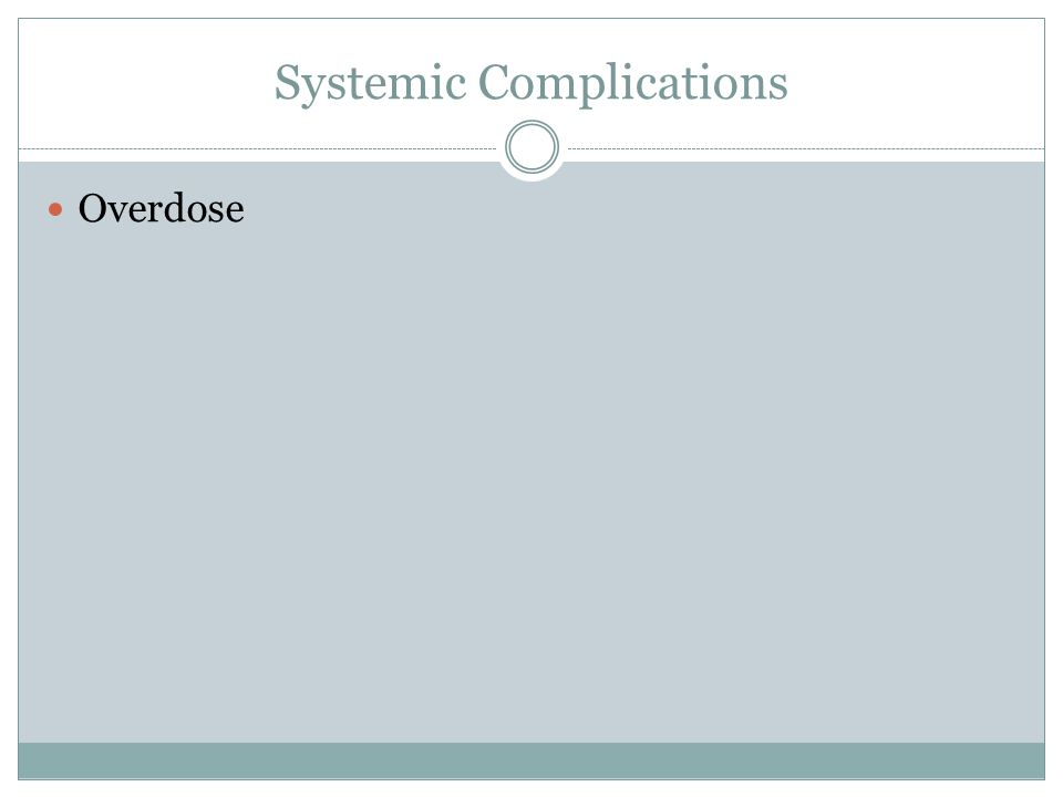 Systemic Complications Overdose