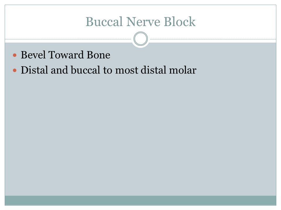 Buccal Nerve Block Bevel Toward Bone Distal and buccal to most distal molar