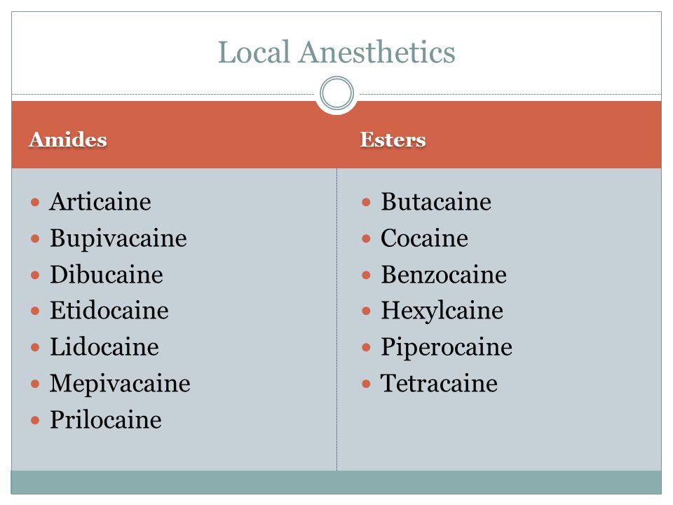 Amides Esters Articaine Bupivacaine Dibucaine Etidocaine Lidocaine Mepivacaine Prilocaine Butacaine Cocaine Benzocaine Hexylcaine Piperocaine Tetracai