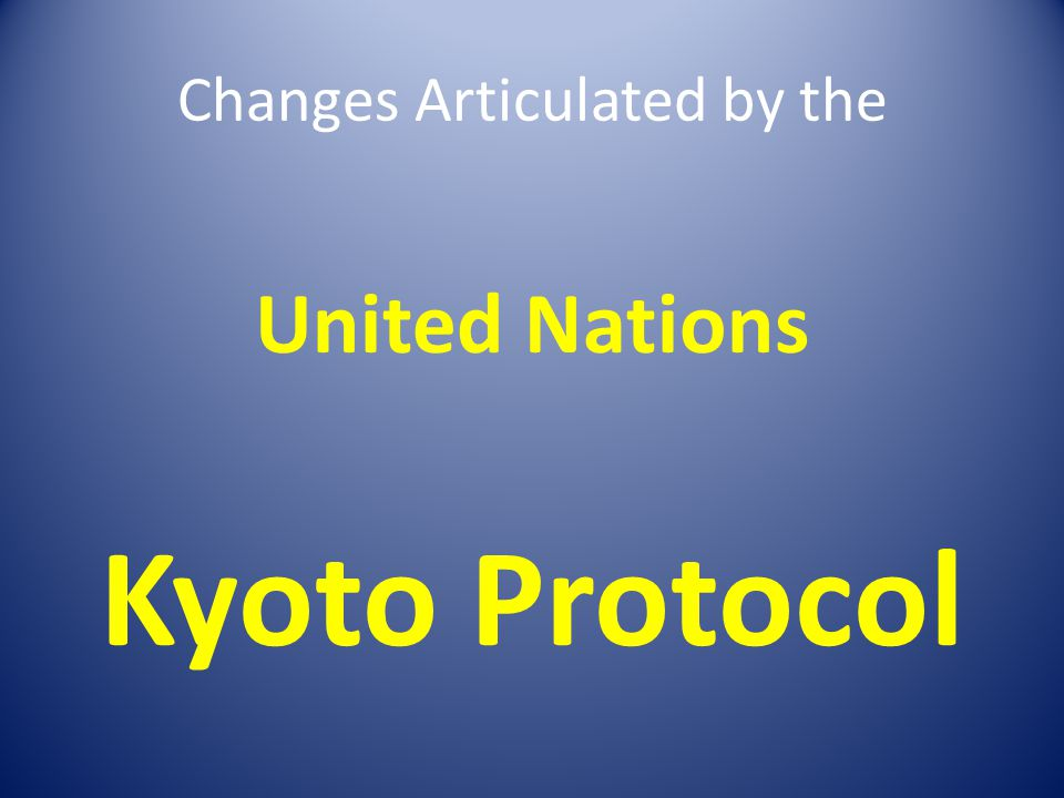 Changes Articulated by the United Nations Kyoto Protocol