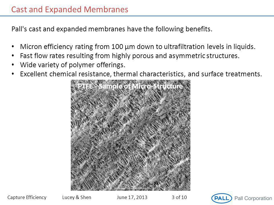 Capture EfficiencyLucey & ShenJune 17, 20133 of 10 Micron efficiency rating from 100 µm down to ultrafiltration levels in liquids.
