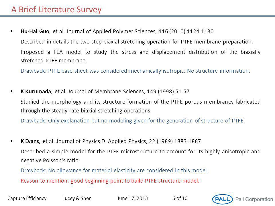 A Brief Literature Survey Capture EfficiencyLucey & ShenJune 17, 20136 of 10 Hu-Hai Guo, et al. Journal of Applied Polymer Sciences, 116 (2010) 1124-1