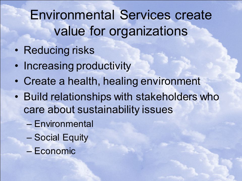 Environmental Services create value for organizations Reducing risks Increasing productivity Create a health, healing environment Build relationships with stakeholders who care about sustainability issues –Environmental –Social Equity –Economic