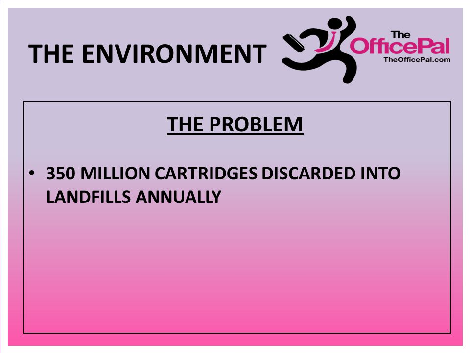 THE ENVIRONMENT THE PROBLEM 350 MILLION CARTRIDGES DISCARDED INTO LANDFILLS ANNUALLY