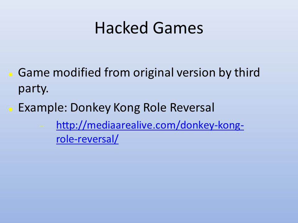 Hacked Games Game modified from original version by third party.