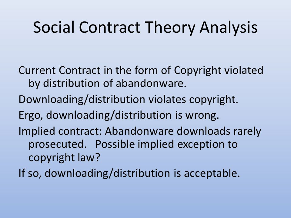Social Contract Theory Analysis Current Contract in the form of Copyright violated by distribution of abandonware.