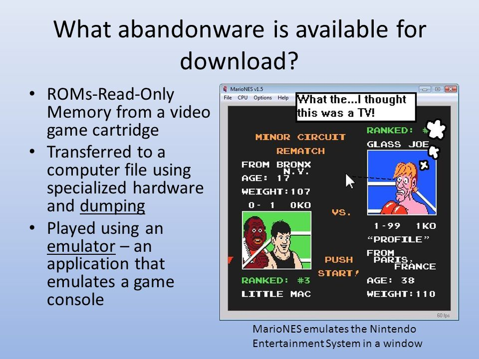 What abandonware is available for download.