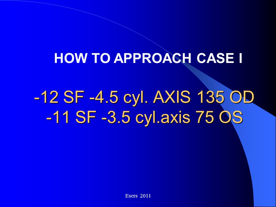 -12 SF -4.5 cyl. AXIS 135 OD -11 SF -3.5 cyl.axis 75 OS Escrs 2011 HOW TO APPROACH CASE I