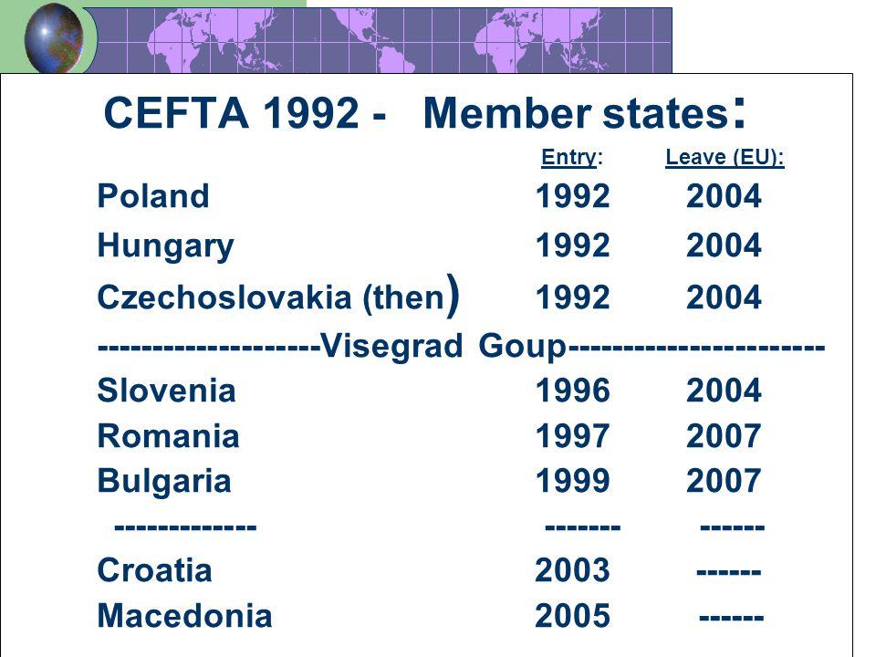 3 CEFTA 1992 - Member states : Entry: Leave (EU): Poland 1992 2004 Hungary1992 2004 Czechoslovakia (then ) 1992 2004 --------------------Visegrad Goup