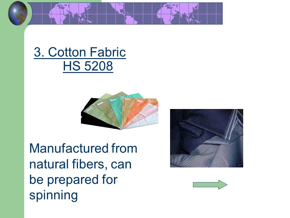 45 3. Cotton Fabric HS 5208 Manufactured from natural fibers, can be prepared for spinning