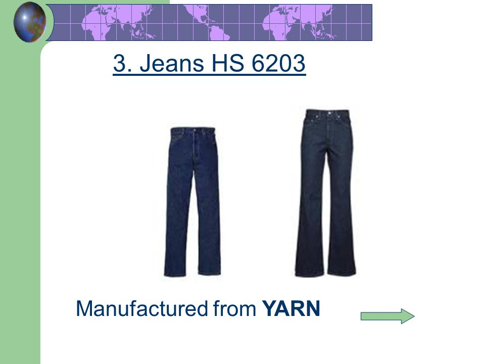 46 Manufactured from YARN 3. Jeans HS 6203