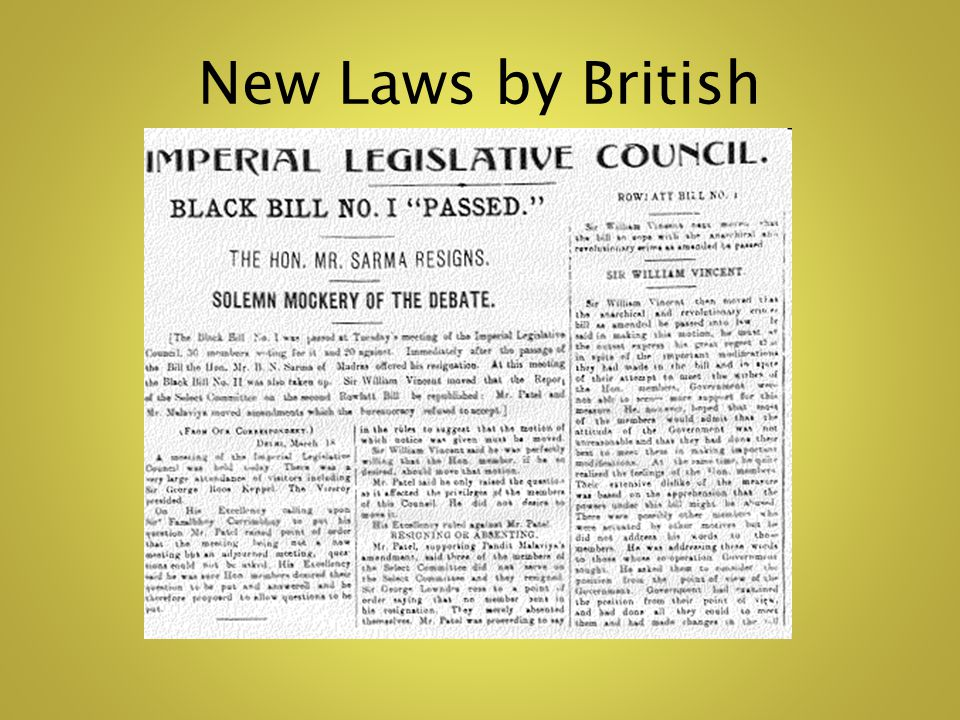 New Laws by British