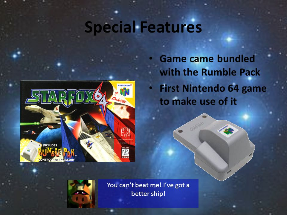 Special Features Game came bundled with the Rumble Pack First Nintendo 64 game to make use of it You cant beat me.