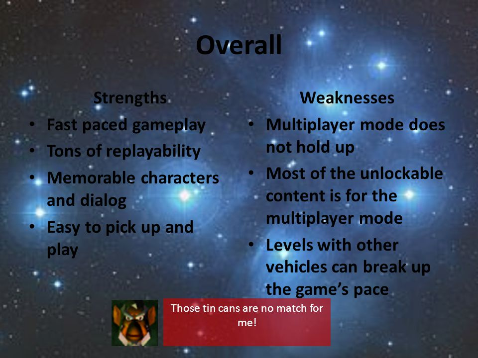 Overall Strengths Fast paced gameplay Tons of replayability Memorable characters and dialog Easy to pick up and play Weaknesses Multiplayer mode does not hold up Most of the unlockable content is for the multiplayer mode Levels with other vehicles can break up the games pace Those tin cans are no match for me!