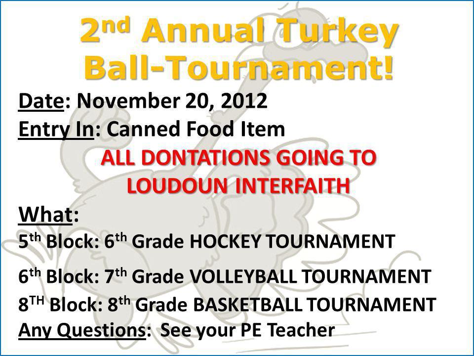 2 nd Annual Turkey Ball-Tournament.