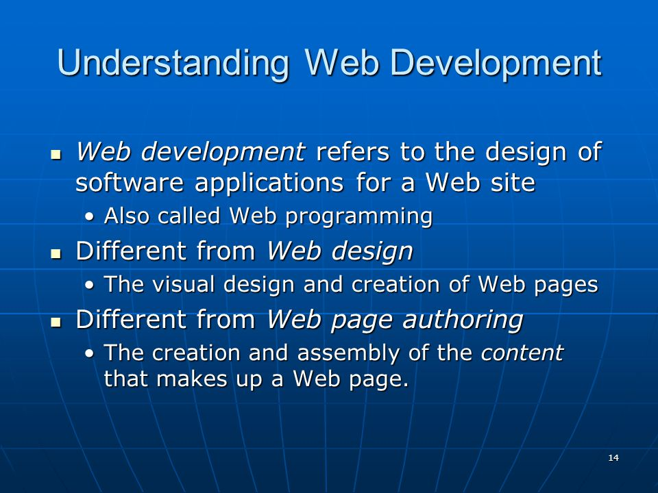 Understanding Web Development Web development refers to the design of software applications for a Web site Web development refers to the design of software applications for a Web site Also called Web programmingAlso called Web programming Different from Web design Different from Web design The visual design and creation of Web pagesThe visual design and creation of Web pages Different from Web page authoring Different from Web page authoring The creation and assembly of the content that makes up a Web page.The creation and assembly of the content that makes up a Web page.