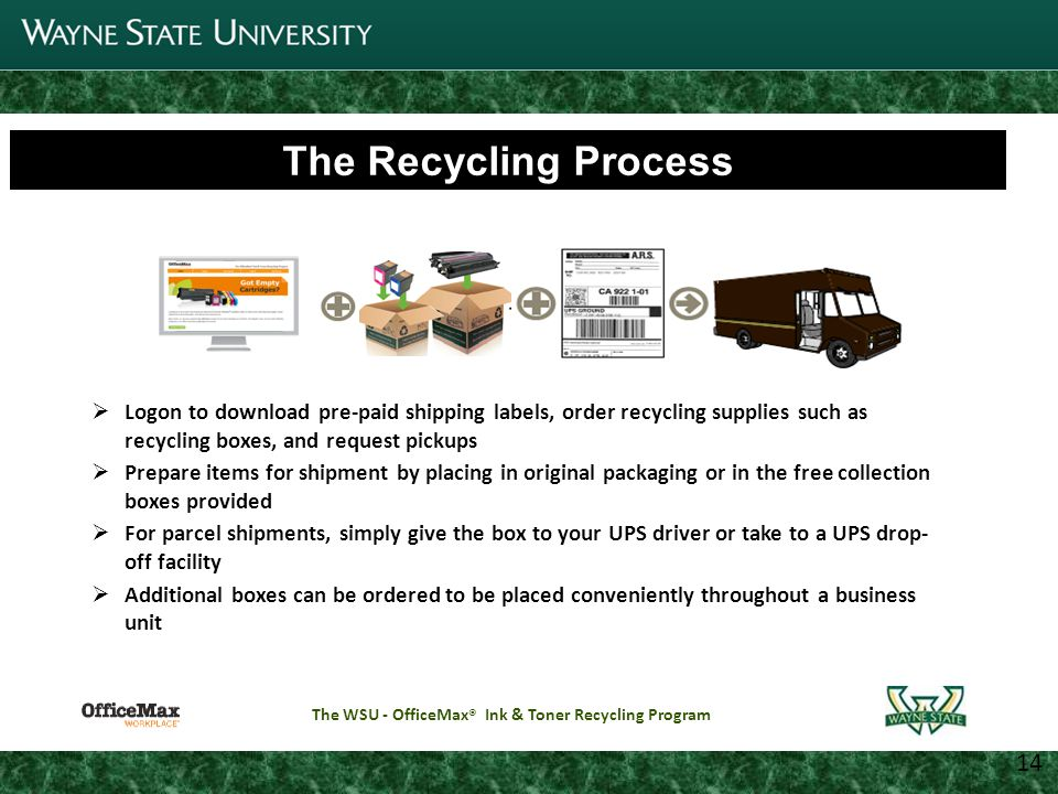 5 Joint Parking Task Force Update 11 14 The Rebate Process Rebates will be provided directly to the Business Office of each participating unit All checks will be payable to Wayne State University Only one check designee is permitted for each collection site Checks will be mailed to the location approved by the Business Affairs Officer The WSU - OfficeMax ® Ink & Toner Recycling Program Wayne State University