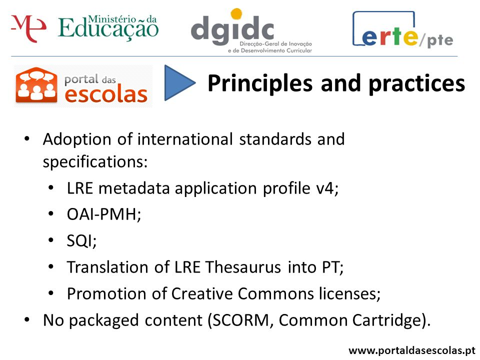 www.portaldasescolas.pt Content and metadata are validated: Scientific mistakes, gender problems, language appropriate to learning level, etc.; Metadata is checked for inaccuracies; Team of ± 30 teachers, trained in the evaluation of DLRs; Checklist includes content and metadata.