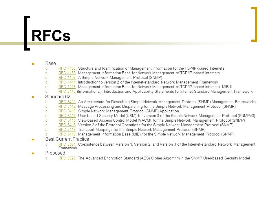 RFCs Base RFC 1155: Structure and Identification of Management Information for the TCP/IP-based Internets RFC 1155 RFC 1156: Management Information Base for Network Management of TCP/IP-based internets RFC 1156 RFC 1157: A Simple Network Management Protocol (SNMP) RFC 1157 RFC 1441: Introduction to version 2 of the Internet-standard Network Management Framework RFC 1441 RFC 1213: Management Information Base for Network Management of TCP/IP-based internets: MIB-II RFC 1213 RFC 3410 (Informational): Introduction and Applicability Statements for Internet Standard Management Framework RFC 3410 Standard 62 RFC 3411: An Architecture for Describing Simple Network Management Protocol (SNMP) Management Frameworks RFC 3411 RFC 3412: Message Processing and Dispatching for the Simple Network Management Protocol (SNMP) RFC 3412 RFC 3413: Simple Network Management Protocol (SNMP) Application RFC 3413 RFC 3414: User-based Security Model (USM) for version 3 of the Simple Network Management Protocol (SNMPv3) RFC 3414 RFC 3415: View-based Access Control Model (VACM) for the Simple Network Management Protocol (SNMP) RFC 3415 RFC 3416: Version 2 of the Protocol Operations for the Simple Network Management Protocol (SNMP) RFC 3416 RFC 3417: Transport Mappings for the Simple Network Management Protocol (SNMP) RFC 3417 RFC 3418: Management Information Base (MIB) for the Simple Network Management Protocol (SNMP) RFC 3418 Best Current Practice RFC 3584: Coexistence between Version 1, Version 2, and Version 3 of the Internet-standard Network Management Framework RFC 3584 Proposed RFC 3826: The Advanced Encryption Standard (AES) Cipher Algorithm in the SNMP User-based Security Model RFC 3826