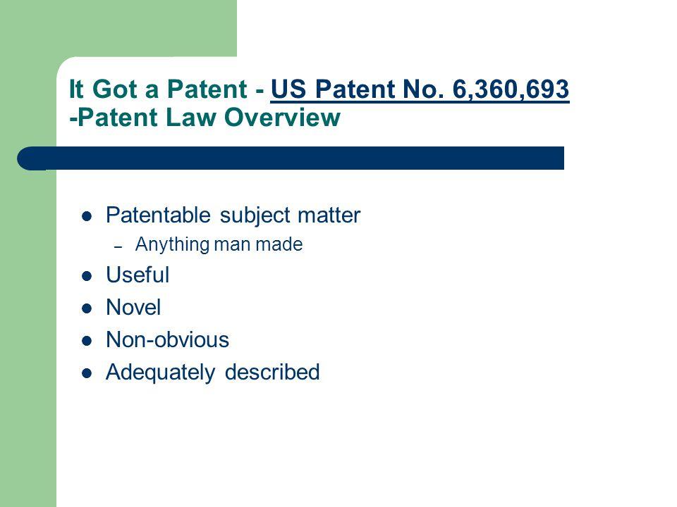It Got a Patent - US Patent No. 6,360,693 -Patent Law OverviewUS Patent No.