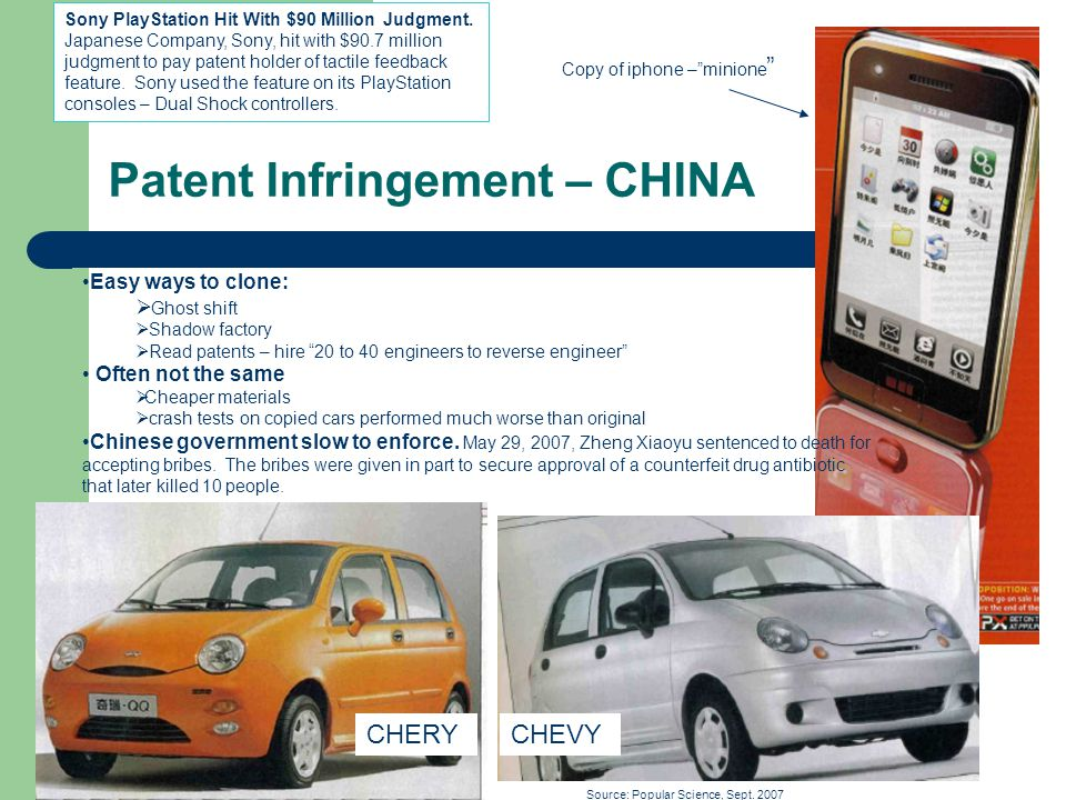 Patent Infringement – CHINA Copy of iphone –minione Easy ways to clone: Ghost shift Shadow factory Read patents – hire 20 to 40 engineers to reverse engineer Often not the same Cheaper materials crash tests on copied cars performed much worse than original Chinese government slow to enforce.