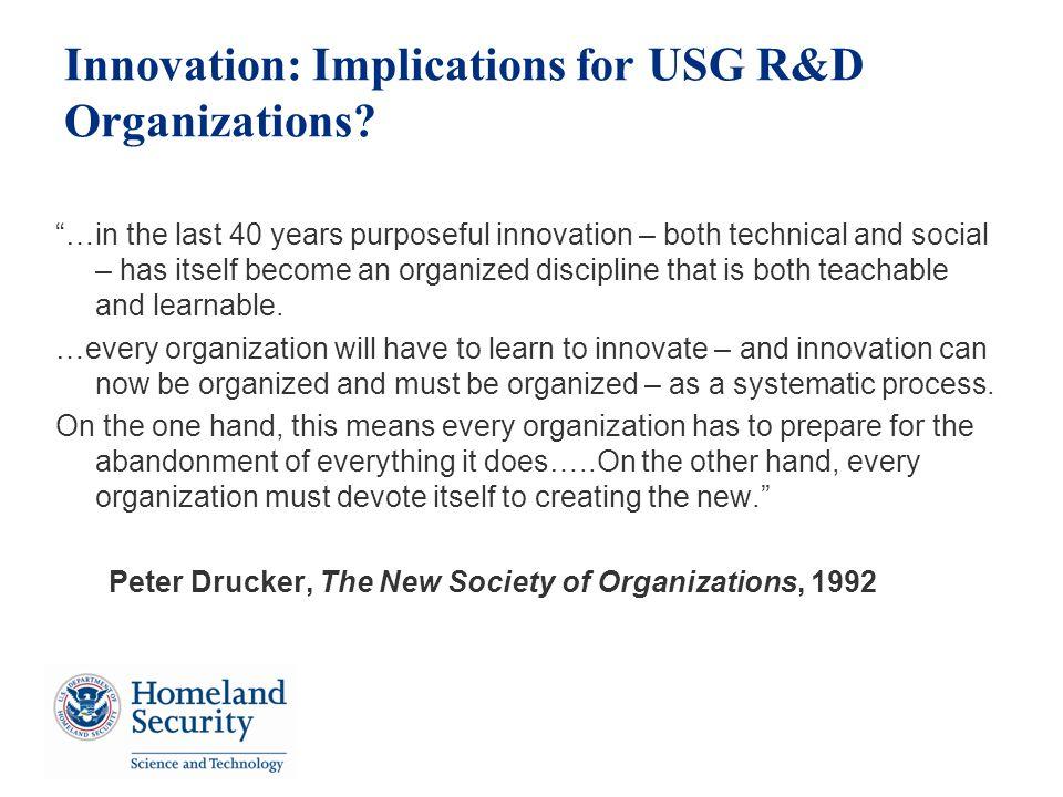 Innovation: Implications for USG R&D Organizations.