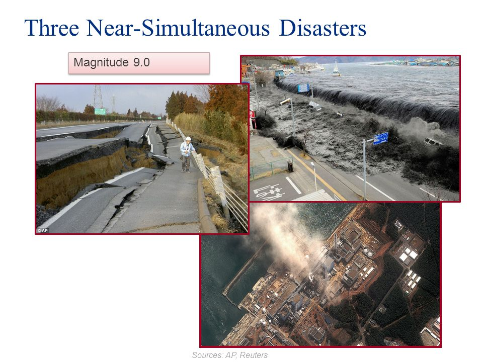 Three Near-Simultaneous Disasters Magnitude 9.0 Sources: AP, Reuters