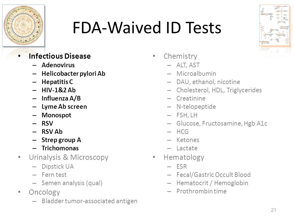 FDA-Waived ID Tests Infectious Disease – Adenovirus – Helicobacter pylori Ab – Hepatitis C – HIV-1&2 Ab – Influenza A/B – Lyme Ab screen – Monospot –