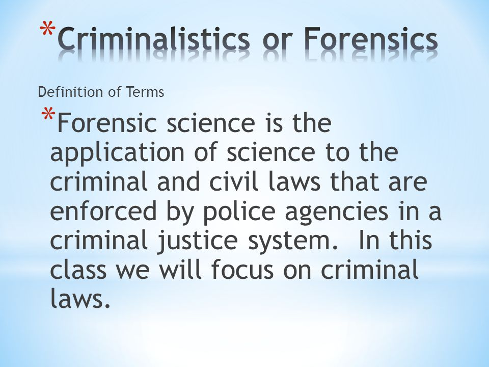 * One of the most important contributors to criminalistics is Edmond Locard (1877-1966) whose main education was in law and medicine.