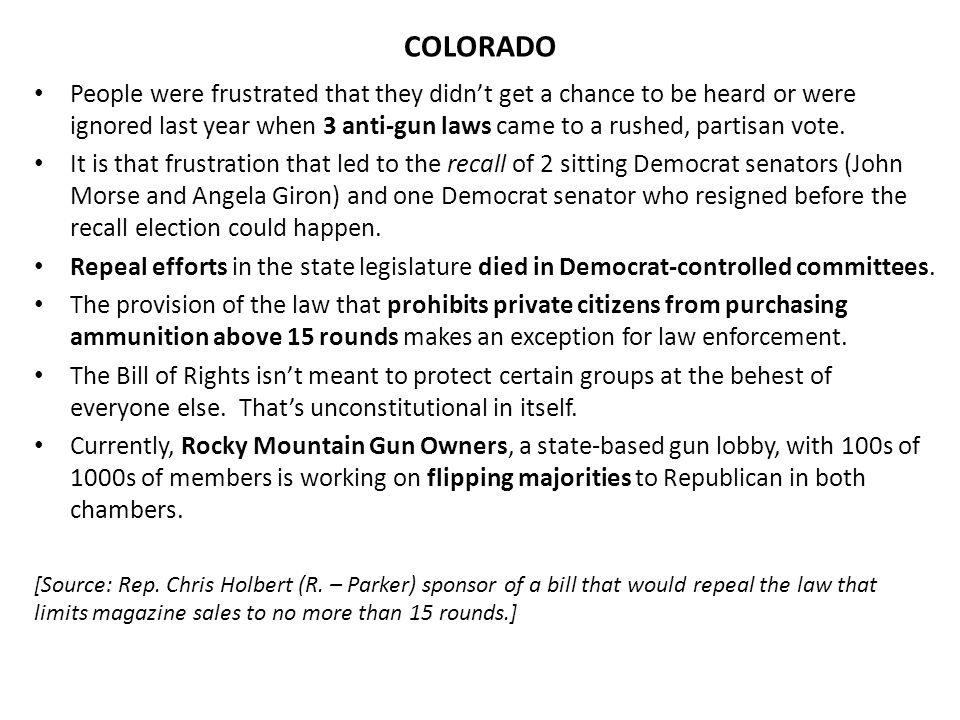 54 out of 62 Colorado sheriffs together with retired law enforcement, FFL dealers, disabled individuals, and concerned citizens filed a complaint against the governor for violations of the 2 nd and 14 th Amendment.