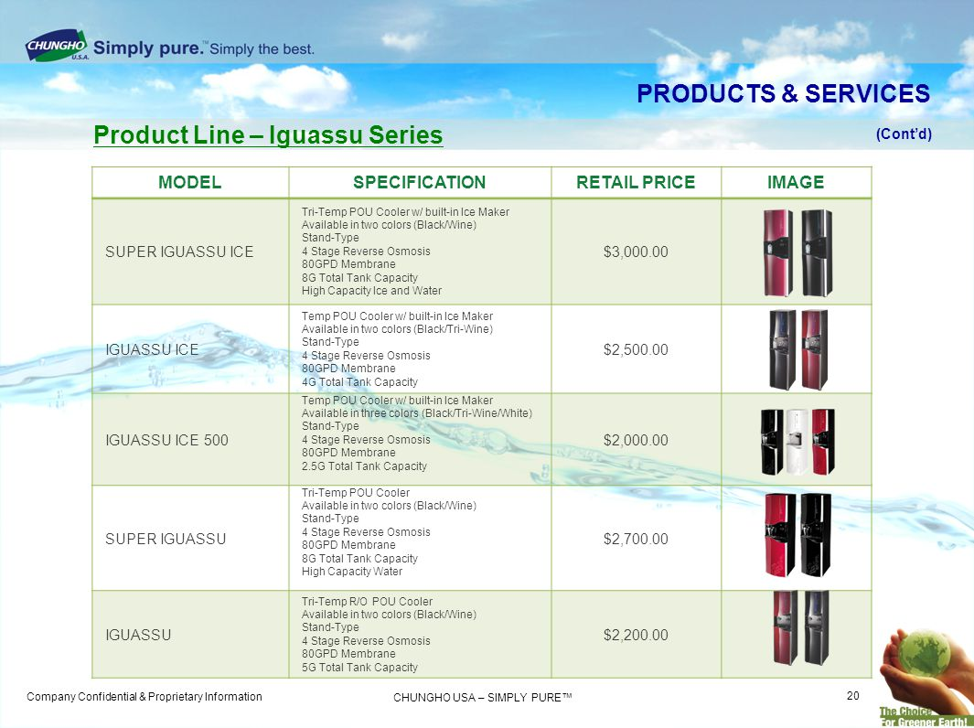 Company Confidential & Proprietary Information CHUNGHO USA – SIMPLY PURE MODELSPECIFICATIONRETAIL PRICEIMAGE SUPER IGUASSU ICE Tri-Temp POU Cooler w/ built-in Ice Maker Available in two colors (Black/Wine) Stand-Type 4 Stage Reverse Osmosis 80GPD Membrane 8G Total Tank Capacity High Capacity Ice and Water $3,000.00 IGUASSU ICE Temp POU Cooler w/ built-in Ice Maker Available in two colors (Black/Tri-Wine) Stand-Type 4 Stage Reverse Osmosis 80GPD Membrane 4G Total Tank Capacity $2,500.00 IGUASSU ICE 500 Temp POU Cooler w/ built-in Ice Maker Available in three colors (Black/Tri-Wine/White) Stand-Type 4 Stage Reverse Osmosis 80GPD Membrane 2.5G Total Tank Capacity $2,000.00 SUPER IGUASSU Tri-Temp POU Cooler Available in two colors (Black/Wine) Stand-Type 4 Stage Reverse Osmosis 80GPD Membrane 8G Total Tank Capacity High Capacity Water $2,700.00 IGUASSU Tri-Temp R/O POU Cooler Available in two colors (Black/Wine) Stand-Type 4 Stage Reverse Osmosis 80GPD Membrane 5G Total Tank Capacity $2,200.00 Product Line – Iguassu Series (Contd) PRODUCTS & SERVICES 20