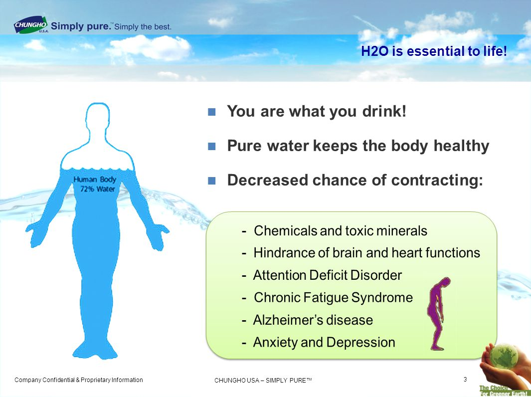 Company Confidential & Proprietary Information CHUNGHO USA – SIMPLY PURE H2O is essential to life! You are what you drink! Pure water keeps the body h