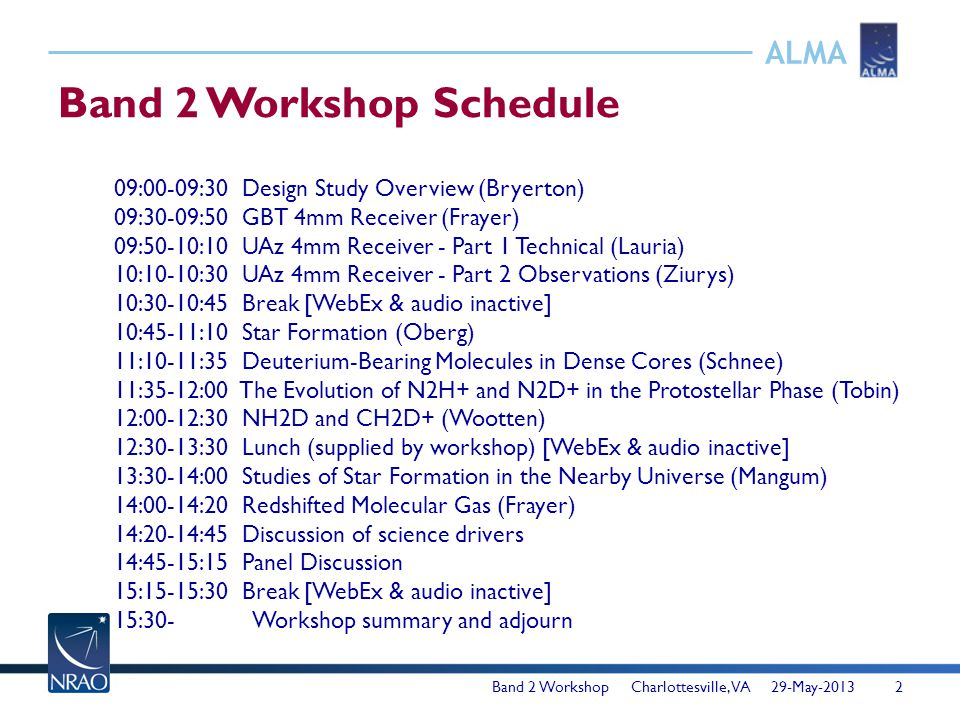ALMA Band 2 Workshop Schedule 09:00-09:30 Design Study Overview (Bryerton) 09:30-09:50 GBT 4mm Receiver (Frayer) 09:50-10:10 UAz 4mm Receiver - Part 1