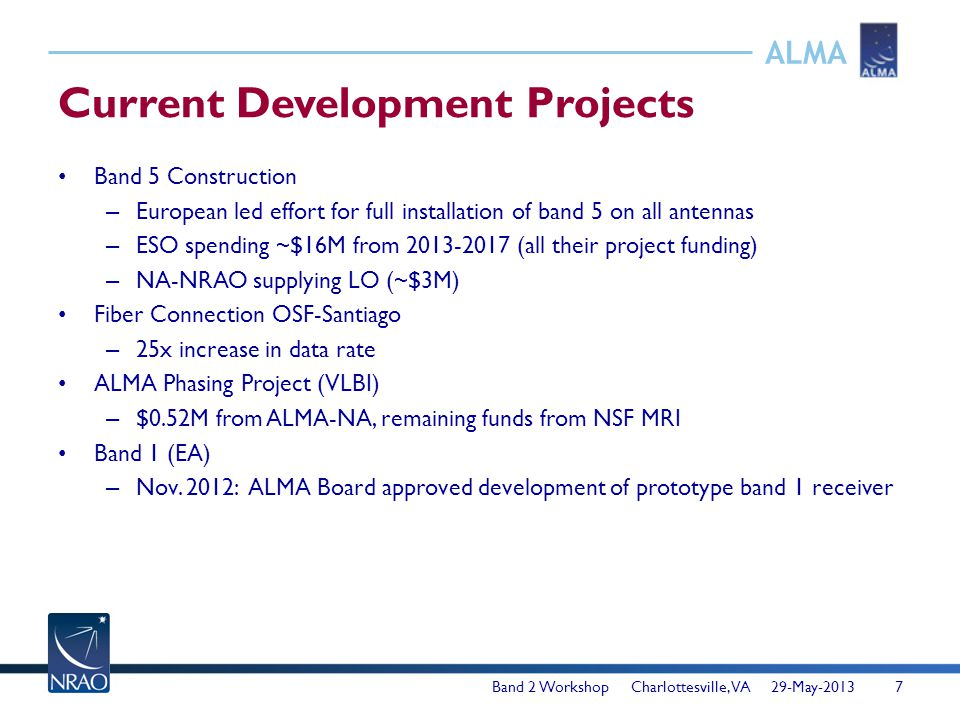 ALMA Current Development Projects Band 5 Construction – European led effort for full installation of band 5 on all antennas – ESO spending ~$16M from